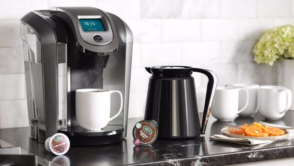 Our favorite Keurig fits perfectly in a small space.