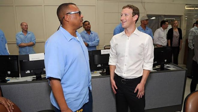 Facebook CEO Mark Zuckerberg visits a coding boot camp at San Quentin State Prison. He talked with Aly Tamboura, who is learning to program inside the prison walls.