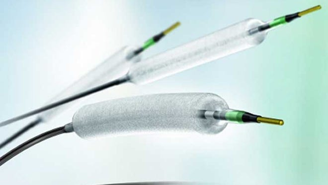 The first drug-coated angioplasty balloon catheter was approved today by the FDA for use in the U.S. This catheter device, used for peripheral vascular disease, was used in clinical trials at Medical Center of the Rockies in Loveland.