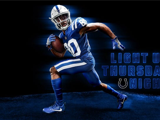 Indianapolis Colts color rush uniforms.