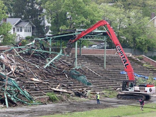 Demolition of the grandstand at Memorial Field begins