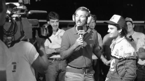 Gary Lee, shown here with young USAC driver Jeff Gordon, was one of ESPN's earliest motor sports broadcasters