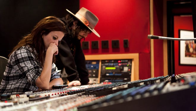 Martina McBride, left, with producer Don Was in the Blackbird Studio.