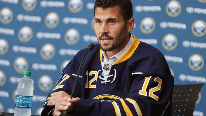 New Buffalo Sabre Brian Gionta of Greece speaks with the media.