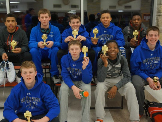 The Southwest 8th Grade basketball team took first place last weekend at the Sussex Hamilton tournament just north of Milwaukee. Front row: Nick Howard, Carson Landry, Dexter Knutson-Gaie, Will Pytleski, Jason Simmons, Ian Way, Lucas Stieber, Javonn Bynum, Josh Yahasha.