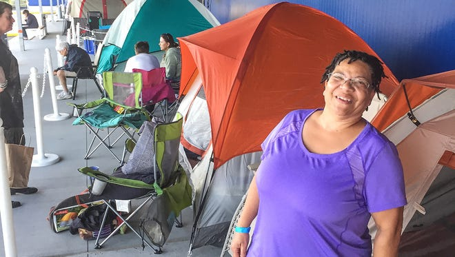 Victoria Warren, 60, of Columbus, camped for two nights with her 16-year-old granddaughter. She was 10th in line on Tuesday, June 6, 2017.