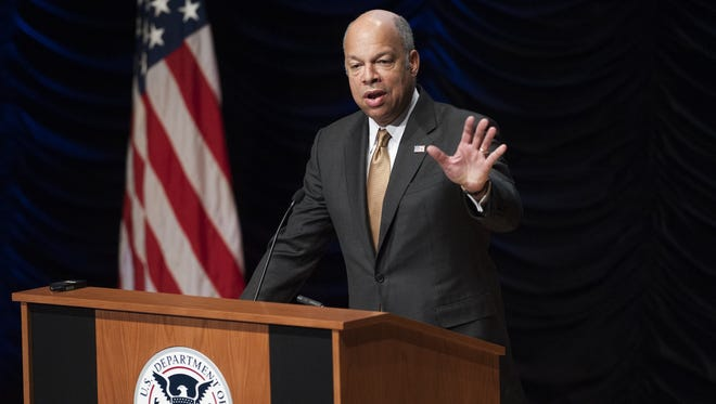 US Secretary of Homeland Security Jeh Johnson speaks about the possible shutdown of the Department of Homeland Security due to a lack of funding by Congress during the DHS Strategic Industry Conversation at the Ronald Reagan Building in Washington, DC, February 25, 2015.