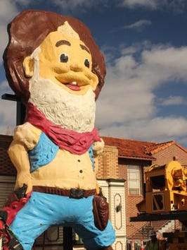 Last Chance Joe stands in front of his new home at the Sparks Heritage Museum and Cultural Museum in downtown Sparks on Monday, Dec. 1, 2014.