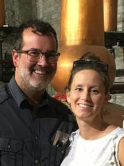 BELATED BIRTHDAY – Angie Weinzapfel treated hubby Brett to a belated birthday weekend on the Kentucky Bourbon trail. The celebrating couple are pictured at the Woodford Reserve Distillery.