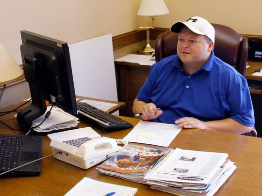 "Rep. Scott Krug, R-Nekoosa, photographed in his office in the Wisconsin state Capitol in Madison, Wis. Krug says it would be ""political suicide"" to ignore public concerns over water quality and quantity in the 72nd Assembly District."