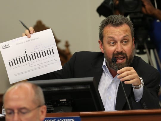 Councilman Brent Ackerson, D-26th District, during a committee on MSD rates, June 15, 2016
