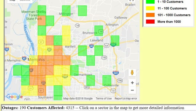 The Memphis Light, Gas & Water Division reported 190 outages affecting 4,315 customers at 6:20 a.m. Monday, the day after a storm — the latest in a series — doused the city.