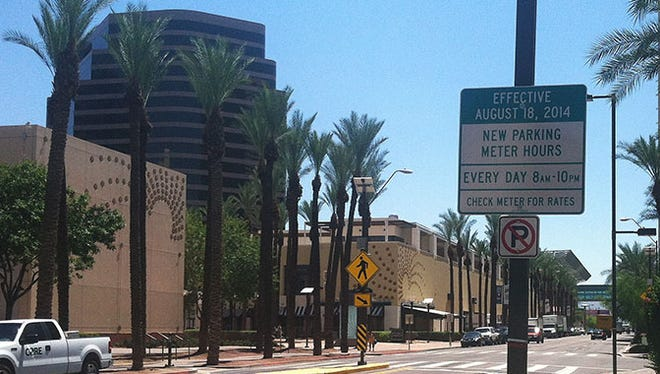 Phoenix parking-meter rates are going up Aug. 18, 2014.