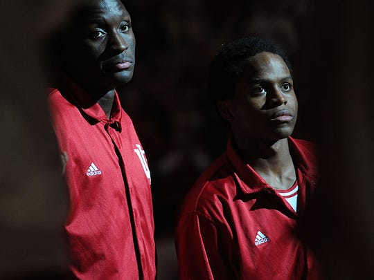 Victor Oladipo and Yogi Ferrell are spotlighted during player introductions. The Indiana Hoosiers hosted the Ball State Cardinals in basketball at Assembly Hall Sunday November 25, 2012. IU won 101 to 53. Rob Goebel/The Star.