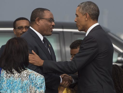 President Obama shakes hands with Ethiopian Prime Minister