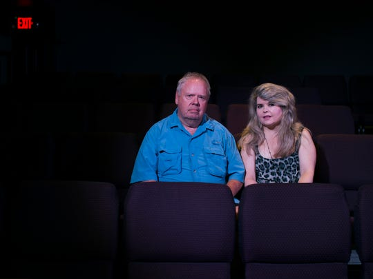 Writer Kelly McCarthy, right, poses with her father and actor Tom McCarthy at the Eagle Theatre in Hammonton.