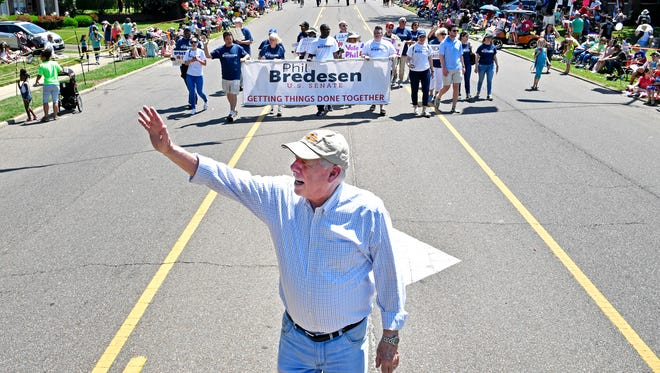 Phil Bredesen joined with other top-tier gubernatorial and Senate candidates at the West Tennessee Strawberry Festival parade. This is just a taste of what the campaign season will be like this summer leading up to the Aug. 2 primary. Friday May 11, 2018, in Humboldt , Tenn.