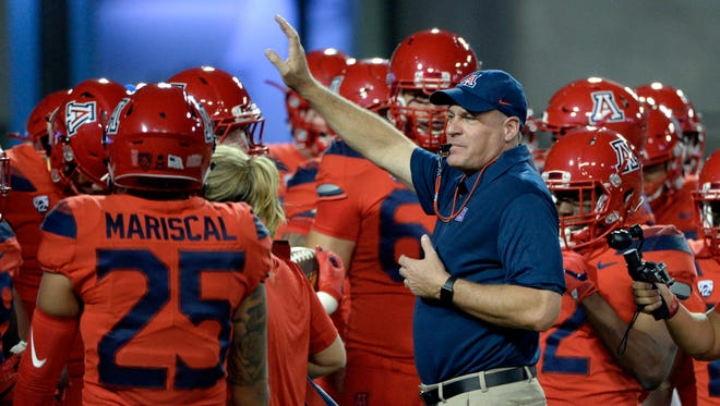 Arizona Wildcats head coach Rich Rodriguez before the game against the Washington State Cougars at Arizona Stadium.