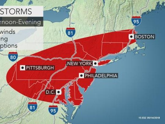 Potential for severe thunderstorms, powerful winds