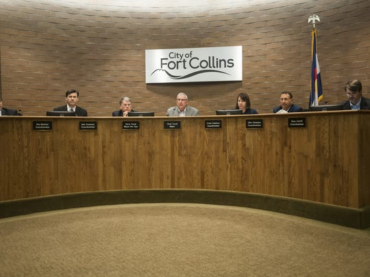 Fort Collins City Council members listen to public comment during a Sept.1, 2015, in this file photo. The council moved to put a sales tax issue on the November ballot Tuesday.