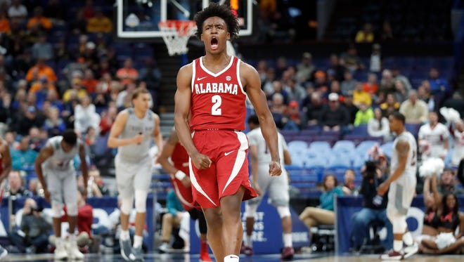 Alabama's Collin Sexton scored 27 points that included the game winner in Thursday's 71-70 win over Texas A&M in the SEC Tournament.