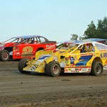 DIRT Modifieds compete in an event at Black Rock Speedway in Dundee.