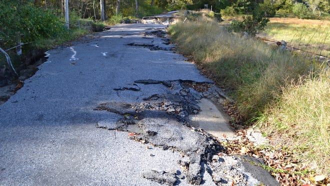 This section of Barren Creek Road near Mardela Springs  was severely damaged in a severe storm in July 2016. Wicomico County officials are now looking at options for repairing it.