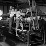 Young loom workers, featured in the exhibit.