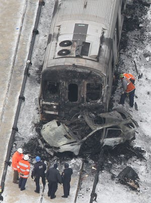An aerial views of the Metro-North train accident at the Commerce Street crossing in Valhalla from Feb. 4.