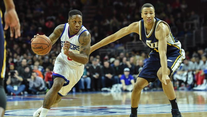 Sixers guard Isaiah Canaan drives the ball during the second quarter of the game against the Utah Jazz at the Wells Fargo Center in Philadelphia on Friday.