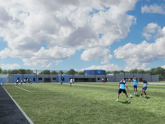 A concept rendering of the practice field that the