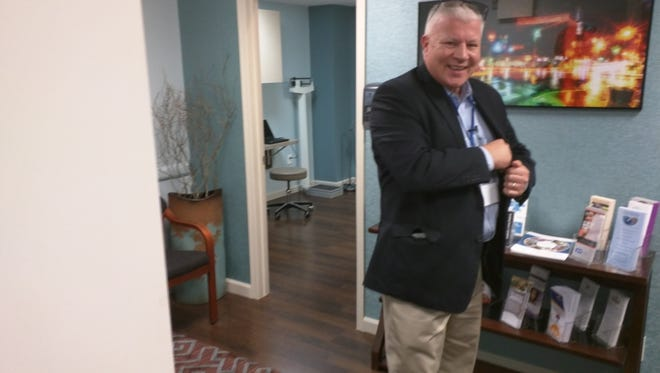 Matthew Carey, executive director of LifePath Christian Ministries - formerly York Rescue Mission - gives a tour of the medical facilities in his organization's building. March 30, 2016. Photo by Sean Philip Cotter.