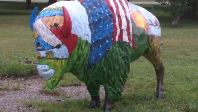 Wayne the Bison has been decorated to represent Wayne County during the bicentennial celebration.