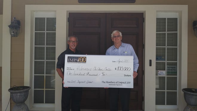 Paul Sexton, Hibiscus CEO, and Dave Wilson, Hibiscus Board Chairman, display the Impact 100 Grant Award.