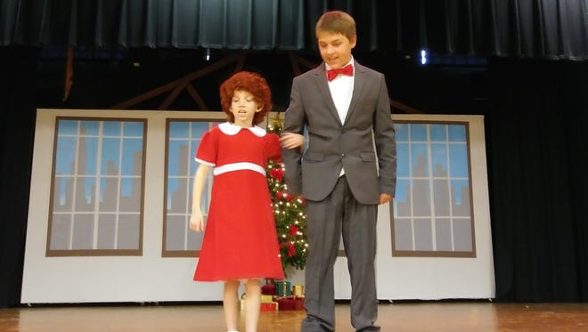 Renee Dunkley as Annie and Cody Weiler as Daddy Warbucks.