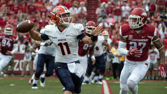 UTEP quarterback Mack Leftwich, here rolling out to throw against Arkansas, has started four games this season and thrown for 607 yards and four touchdowns. UTEP plays at Southern Mississippi Saturday.