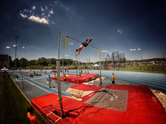 Maclay junior Darin Meeker attempts to clear the bar on one of his pole vault attempts. Meeker finished third in Friday's FHSAA Class 1A/2A track meet in Jacksonville.