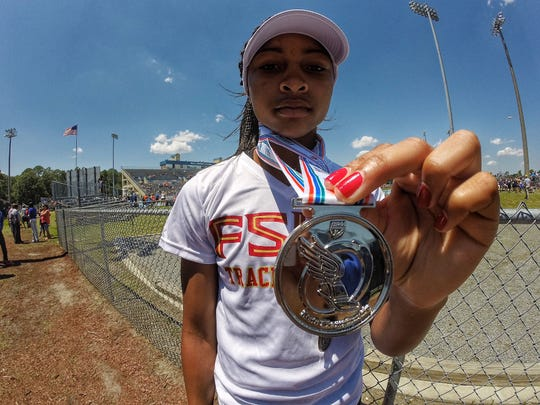 Florida High sophomore Adrianna Mitchell took second in the triple jump and also came in fifth in long jump during Friday's FHSAA Class 1A/2A track meet in Jacksonville.
