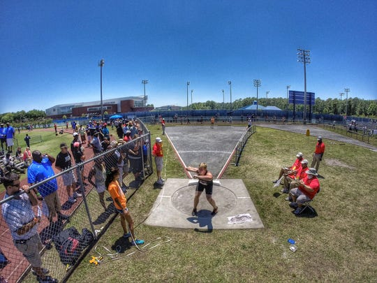 Chiles thrower Cole Upthegrove throws shot put during the 2015 FHSAA Class 3A state track meet. Upthegrove finished third in shot put and fourth in discus, helping the Timberwolves score 19 points in field events to repeat as 3A state champion.