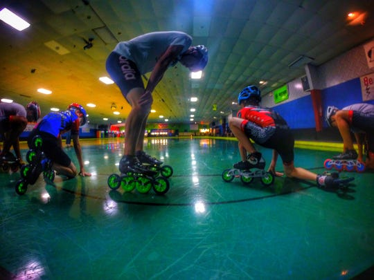 Southern Speed inline speed skater Joey Bisping, 15, prepares to run a final start in preparation for Indoor Nationals in Albuquerque, N.M. next week.
