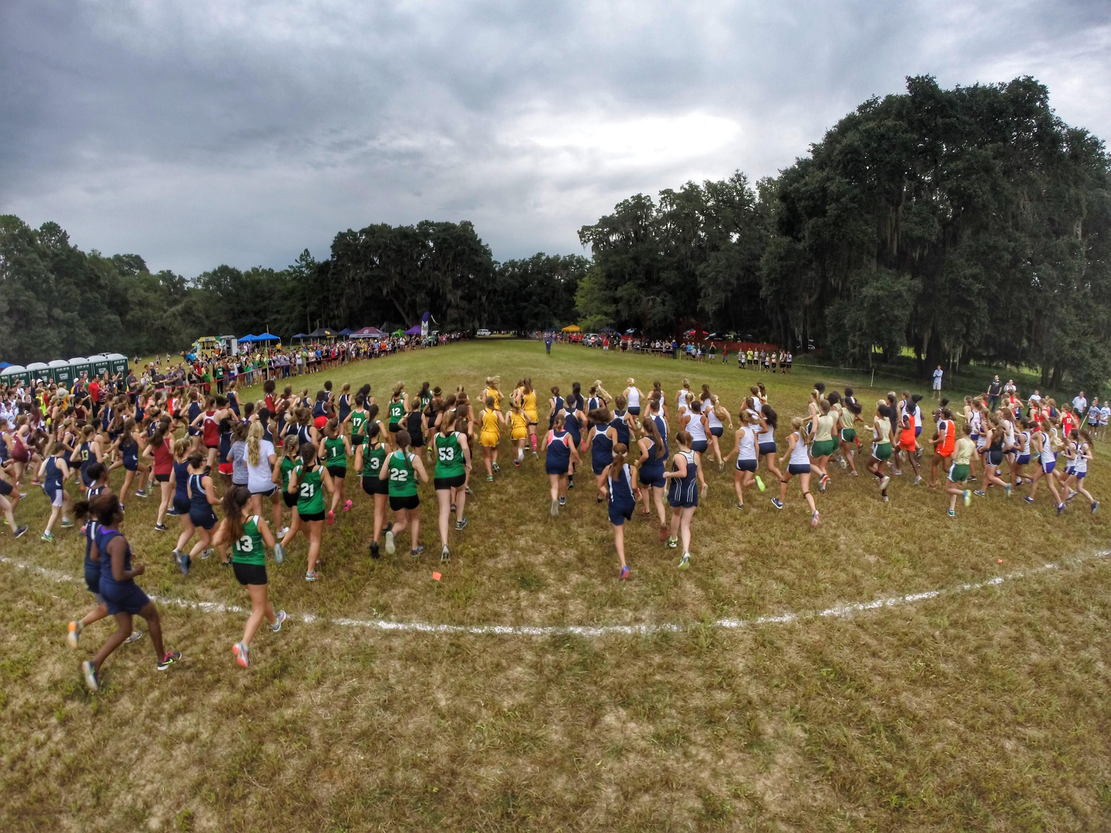 The girls race at the Cougar XC Challenge starts last Saturday at Elinor Klapp-Phipps Park.