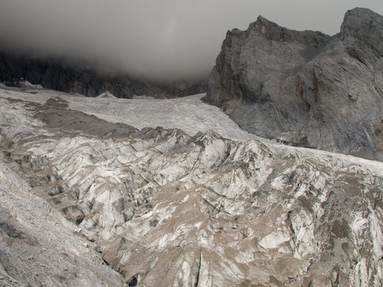 The Baishui Glacier No.1 on the Jade Dragon Snow Mountain in the southern province of Yunnan in China.
