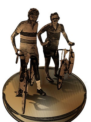 This is an early tentative concept of what a commemorative statue of RAGBRAI cofounders John Karras and Donald Kaul might look like.