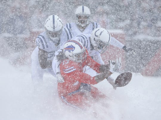 Indianapolis Colts cornerback Quincy Wilson (31) knocks the ball from the hands of Buffalo Bills wide receiver Kelvin Benjamin (13) in the second quarter at New Era Field in Orchard Park, N.Y., on Sunday, Dec. 10, 2017.