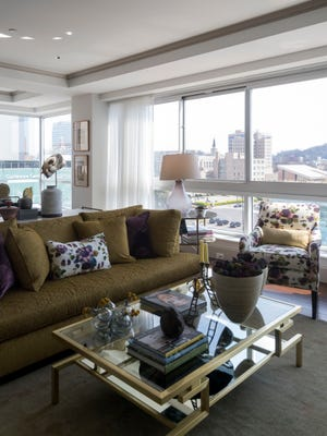 Law's Interiors and Design created this living space in the great room of residential unit 600 at The Tennessean for the 2018 Symphony League ShowHouse.