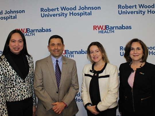 RWJUH Quailty Nurse Manager Jackie Baras, RWJUH President and CEO John J. Gantner, RWJUH and RWJBarnabas Vice President and Chief Nursing Officer Lori Colineri and RWJ Diversity and Inclusion DirectorVanessaNazariowere on hand for the Feb. 8 launch of Proudly Me!, a free edu-port (education and support) program for Transgender and Non-Binary confirming community members held the second Thursday of every month at the RWJ Fitness and Wellness Center.