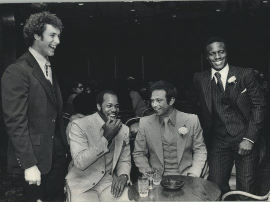 Four Milwaukee Brewers joked around Sunday night at the 28th annual Diamond Dinner in the Pfister Hotel in 1979. From left were Larry Sorensen, Cecil Cooper, Mike Caldwell and Ben Oglivie. All but Caldwell were all-stars during their time with the Brewers.