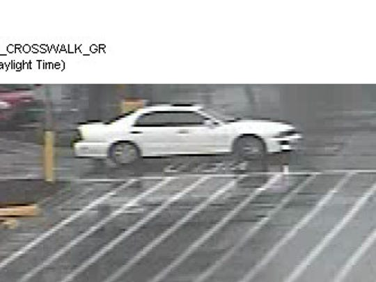 Here is the four-door white sedan that deputies say was driven by a woman who used a stolen credit card at a Walmart.