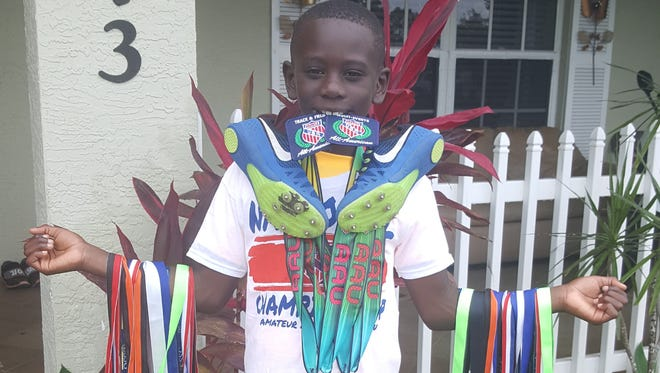 Royce Powell, 7, of Fort Pierce, competed unattached in AAU track meets in the state for the past five months. He recently competed in the Primary Championship at the Wide World of Sports and won gold in the triathlon and silver in the 400. He also got gold for his 200-meter race, and he is the 200-meter record holder in Titusville with a time of 30.88 seconds.