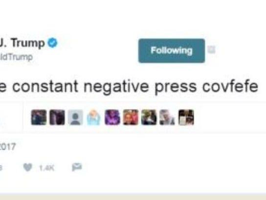 "President Donald Trump's infamous ""covfefe"" tweet."